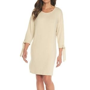 Bobeau Solid Knit with Tie Sleeve Shift Dress